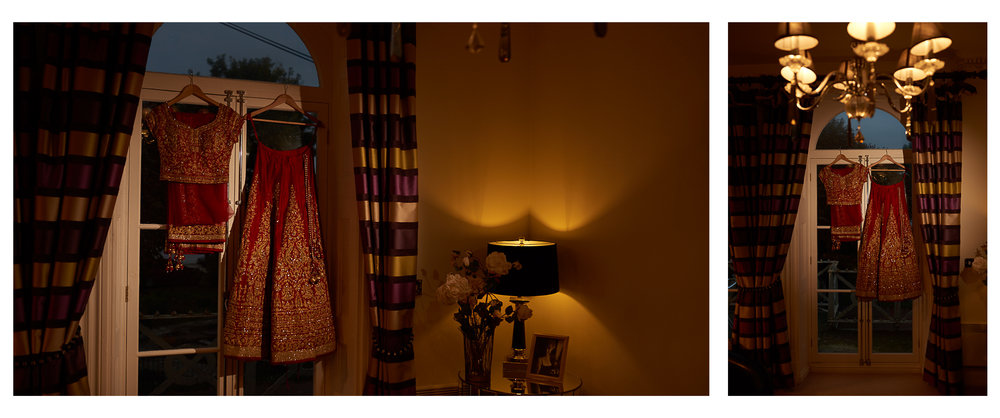 brides asian wedding dress hanging