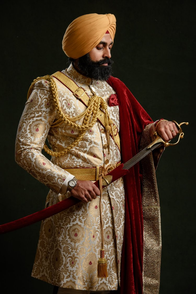 Sikh Wedding Photography Groom Portrait by SikhandDread