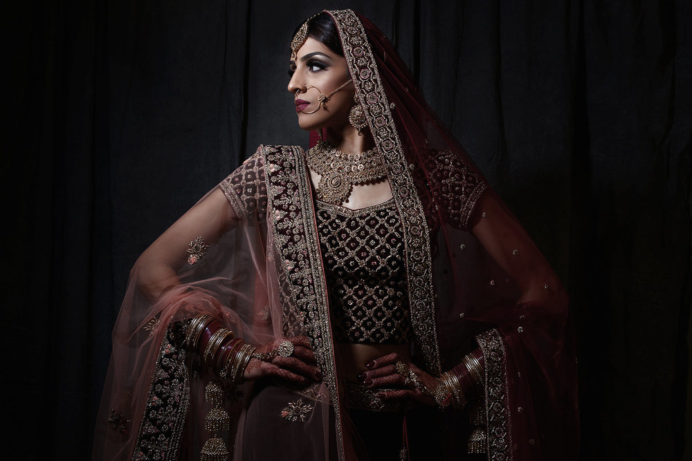 editorial indian bride portrait by best asian wedding photographers london