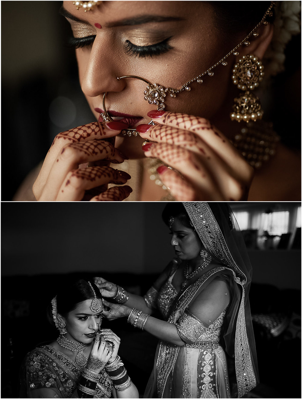 Indian bride putting on her jewellery