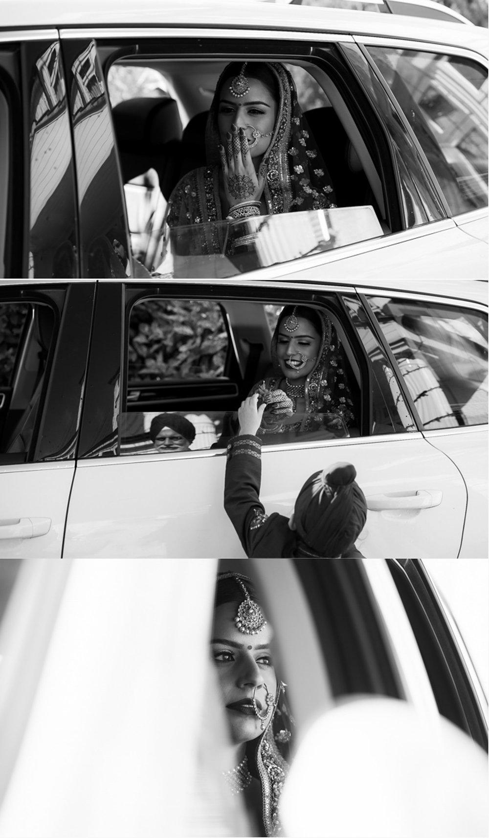 Indian bride in car saying farewells in morning
