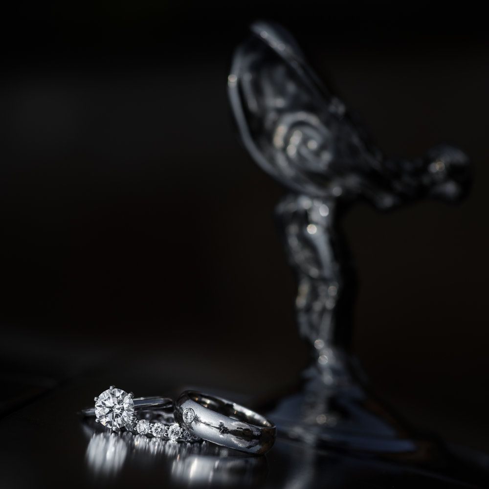 Wedding rings on Rolls Royce Birmingham