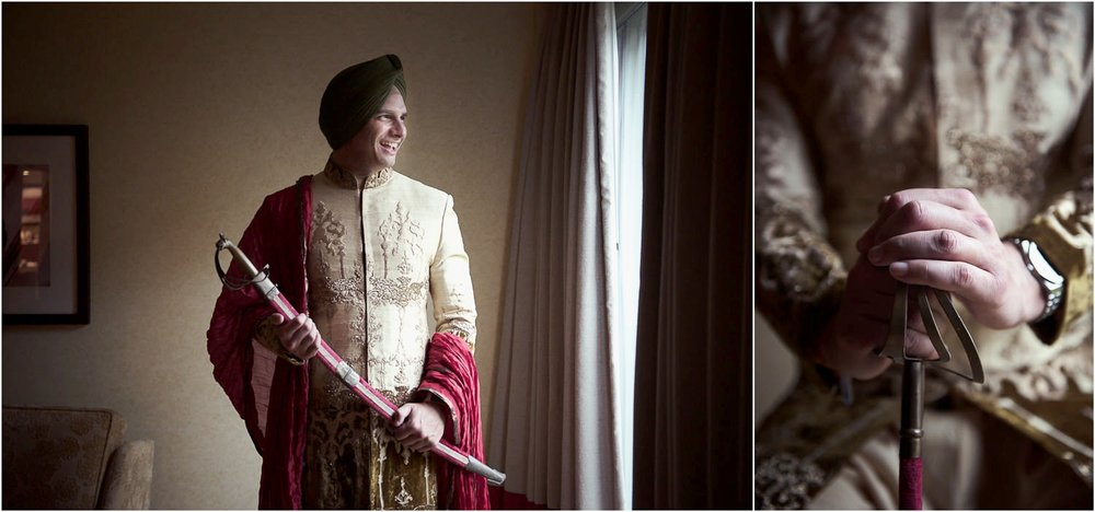 sikh groom getting ready portraits