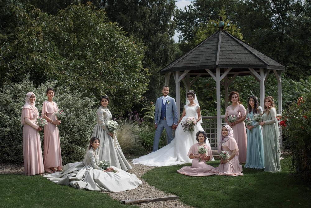editorial style bridesmaids group portrait muslim wedding photography