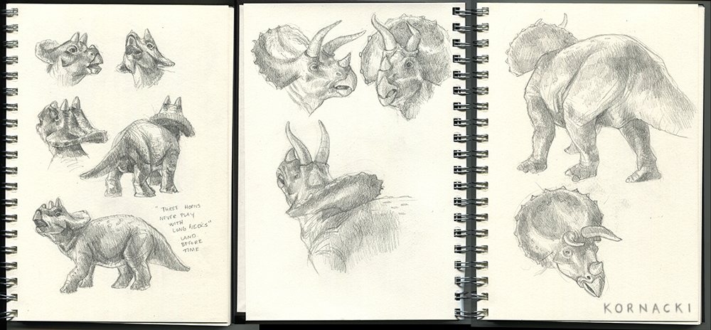 Stetchbook studies of Mother and Baby Triceratops I did while watching The Land Before Time