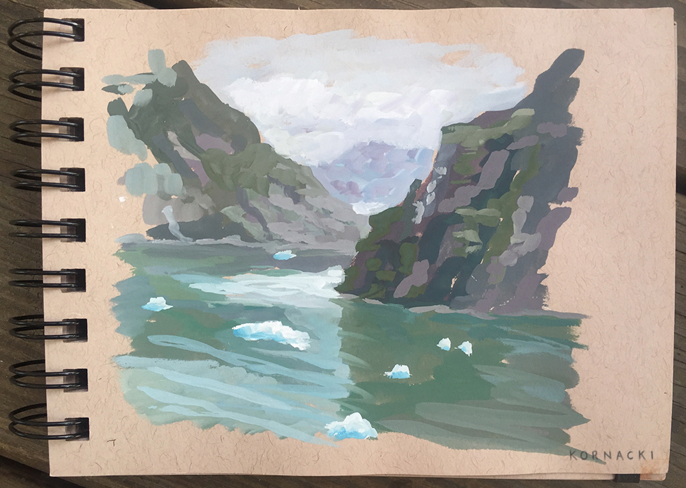 Gouache study of glaciers in the Tracy Arm Fjord from the balcony of our ship.