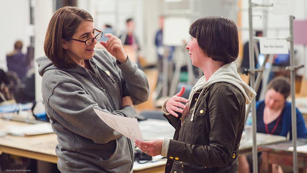 Discussing ideas with Irene Gallo.(Photo curtesy of David Palumbo)