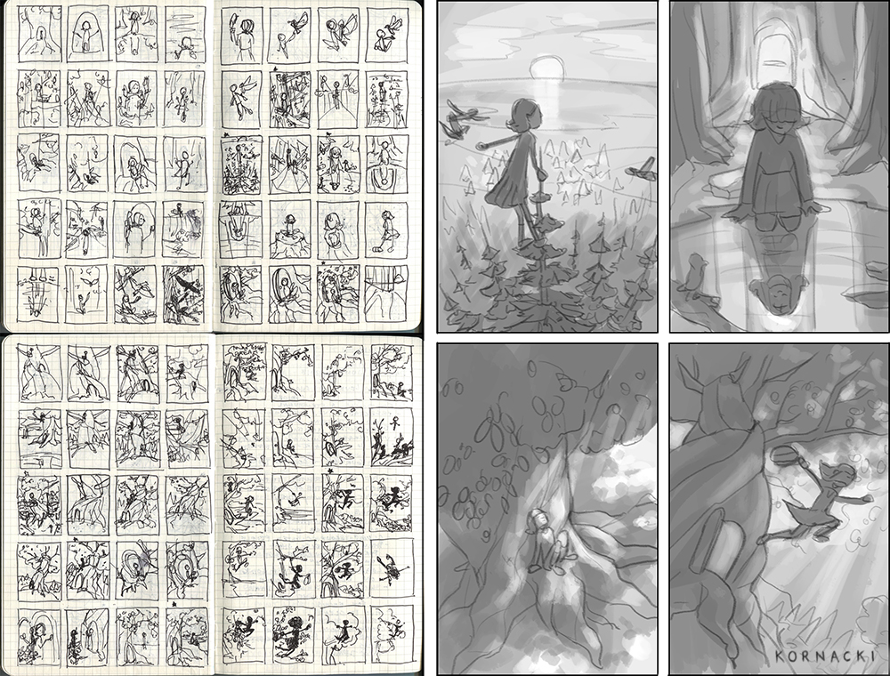 Left: Rough Thumbnail sketches in my sketchbook. Right: Revised digital thumbnail sketches with values