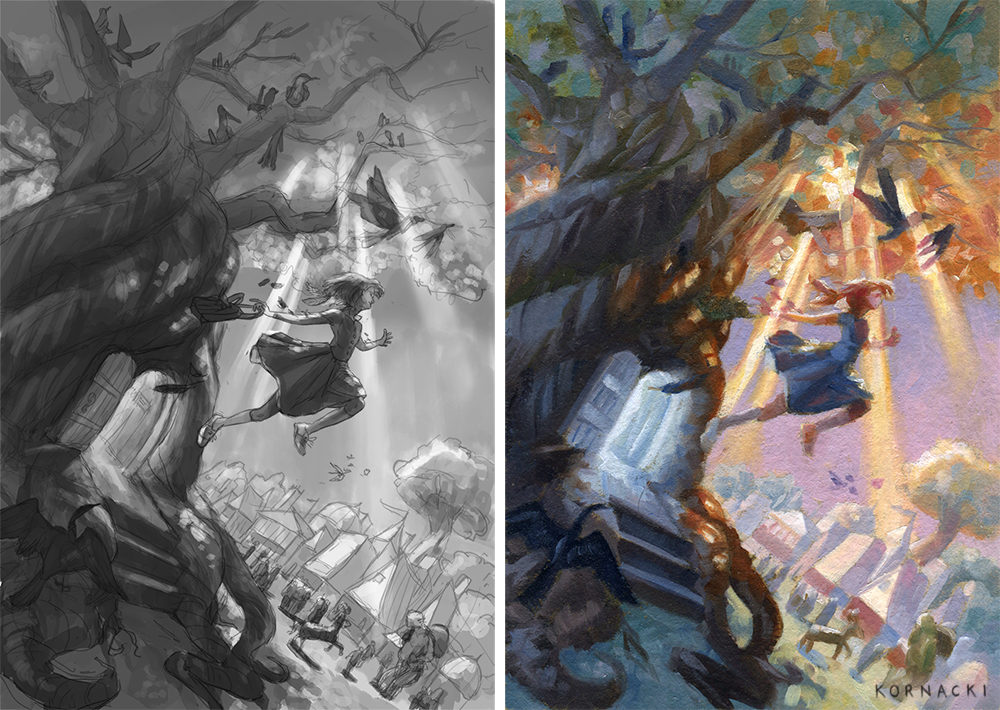 Left: Full-sized value sketch. Right: Color study in oils.