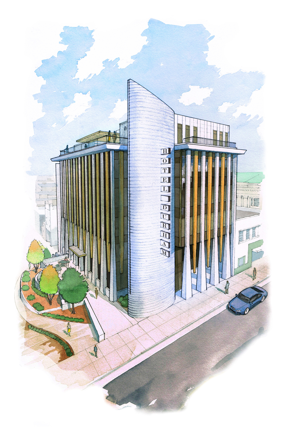 Hotel Durham concept rendering courtesy of Aaron Ede
