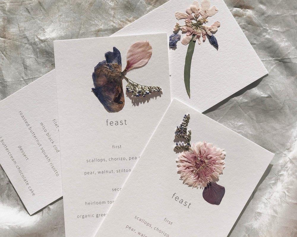 Botanical Menu Cards
