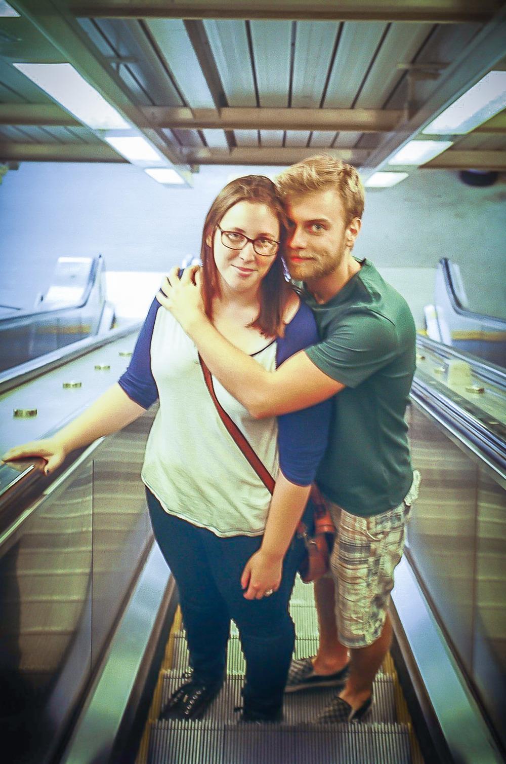 We rode escalators.