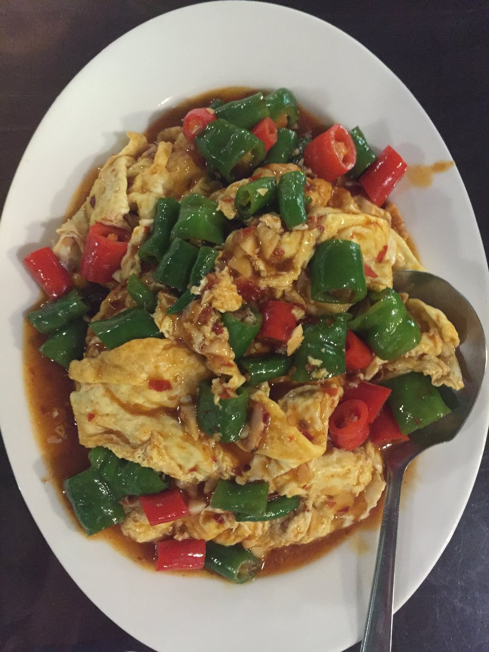 Szechuan-style Eggs and Chilis goes especially well with rice