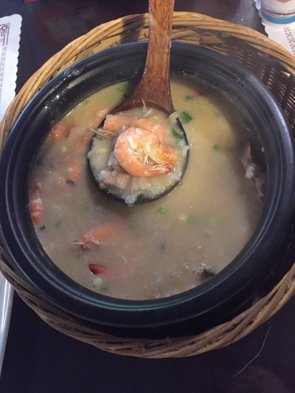 Seasonal Red Crab and seafood porridge. MUST ORDER! The seafood porridge is slowly cooked in claypot and filled with generous helpings of red crab, shrimp, and mushrooms.