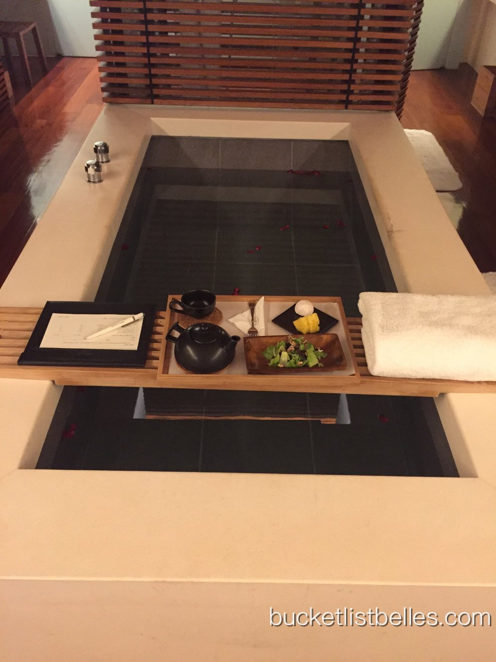 Huge stone bath all to myself & light refreshments of salad, mochi and fruit.