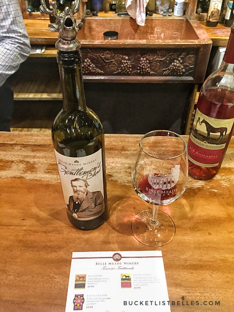 We bought a very nice red:  Gentlemen's Blend  and a sweet, desert-like wine:  The Muscadine.  Belle Meade Winery also offers annual wine membership.