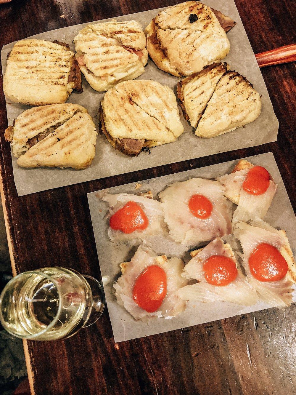 Montaditos: bacalao & salmorejo, sobrasada, Manzanilla sherry from Sanlucar de Barrameda
