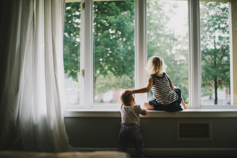 Sisters in window, family photography, DC