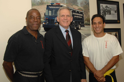 Chief Talylor LA County Probation Department with Sifu Earl White and Fidel