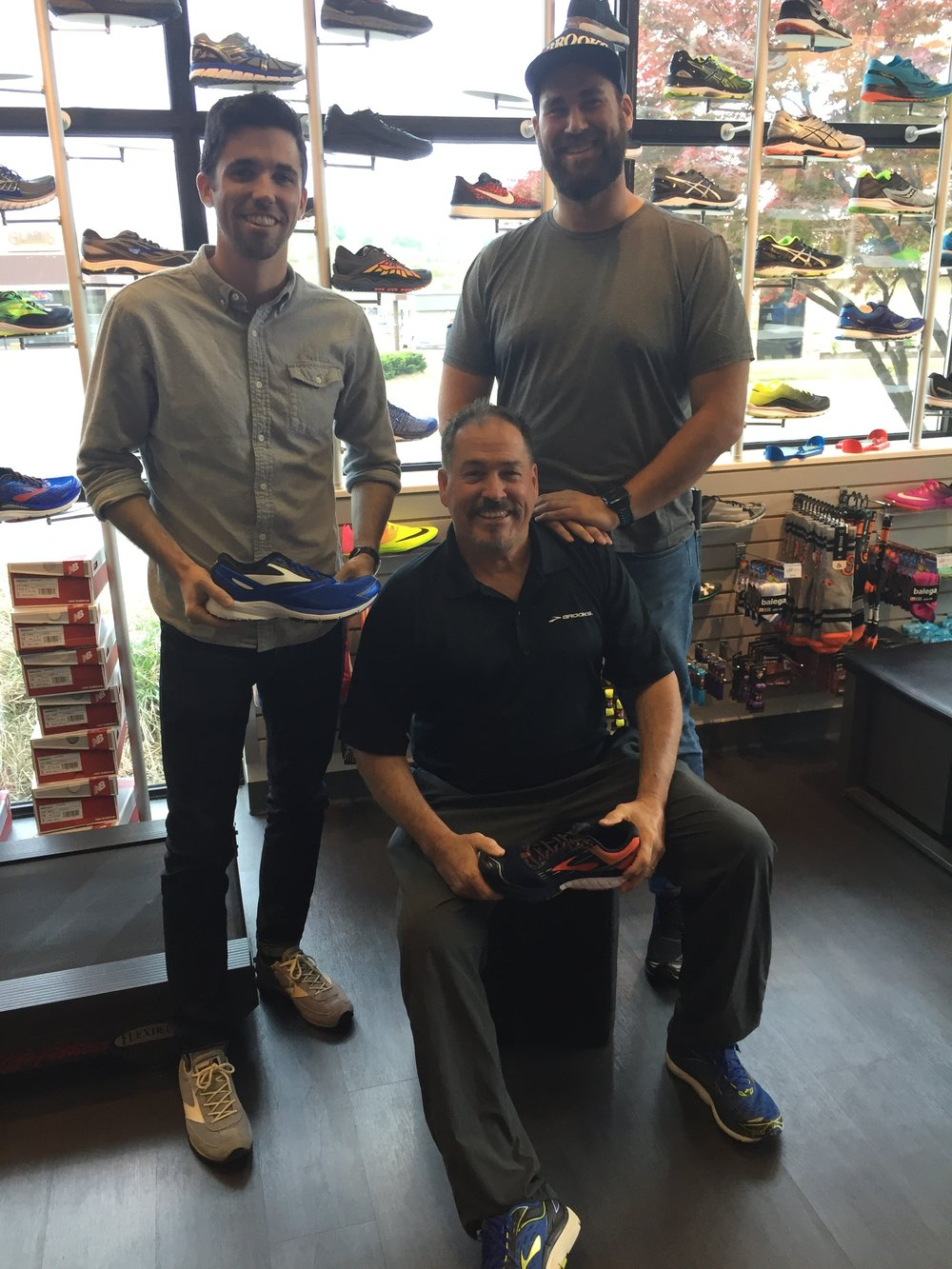 From right to left: Connor, Mike and Brennan with their favorite Brooks shoes!