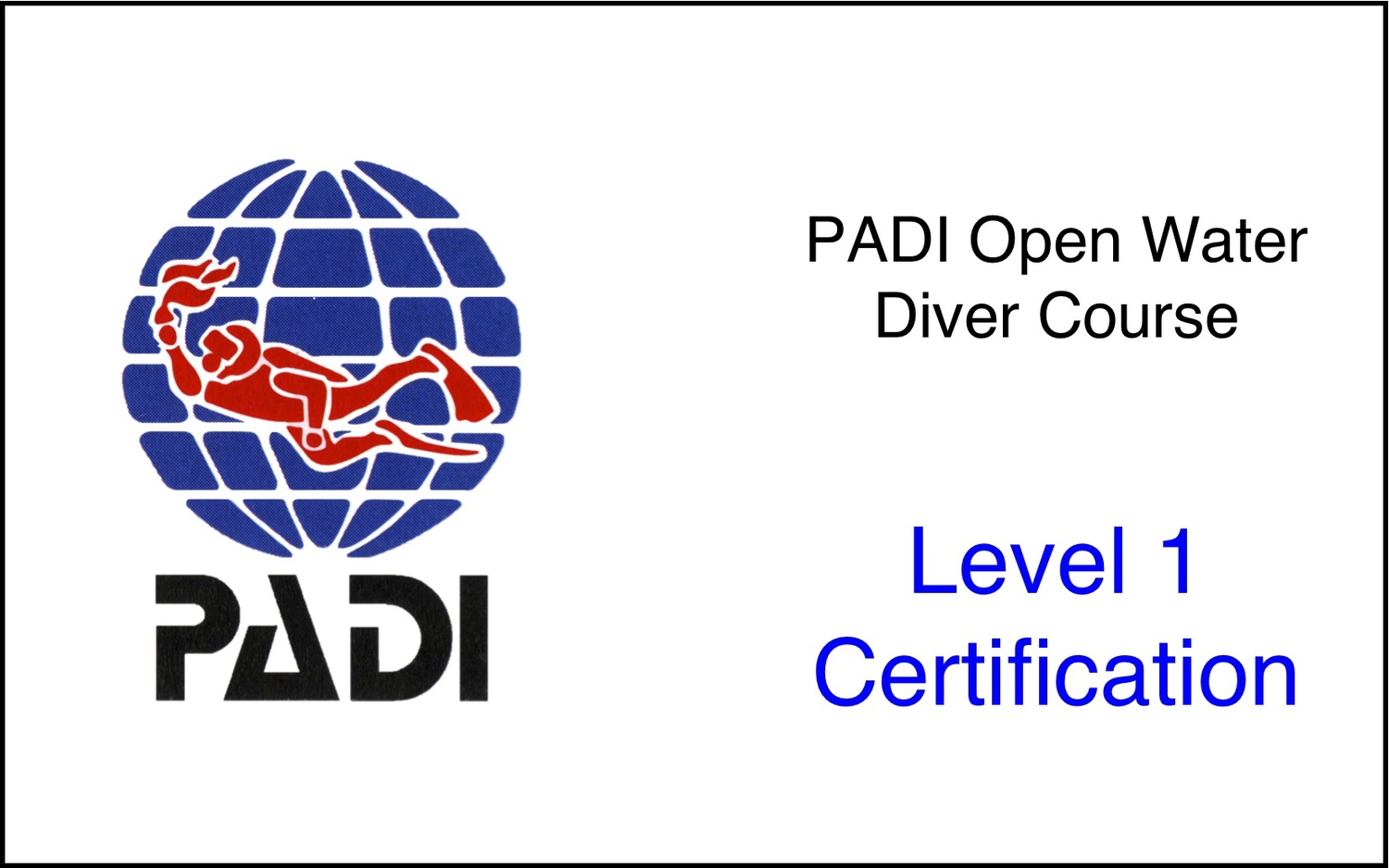 Padi Open Water Diver Ages 10 Dive Blue Home