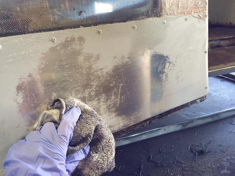 We found that using a wet cloth to wipe off the stripped paint was the trick to getting the most residue off.
