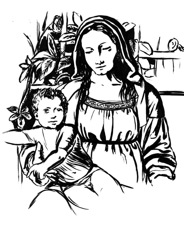 Day 09  -Madonna del Roseto (1507)  Bernardino Luini (1485 - 1532)