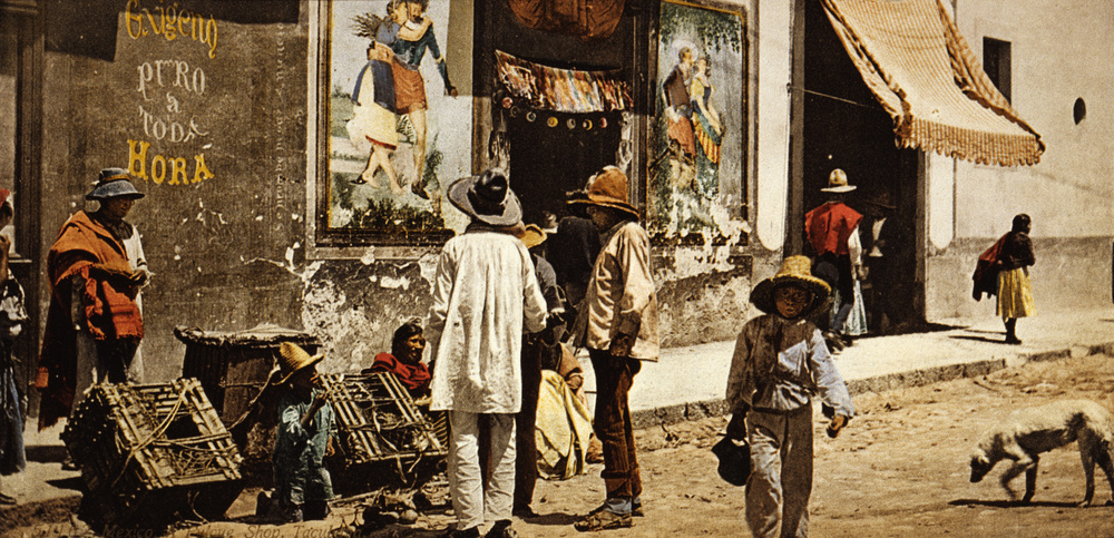Pulque store in Tacubaya, Guanajuato, Mexico, ca. 1900. (Source marked for reuse).