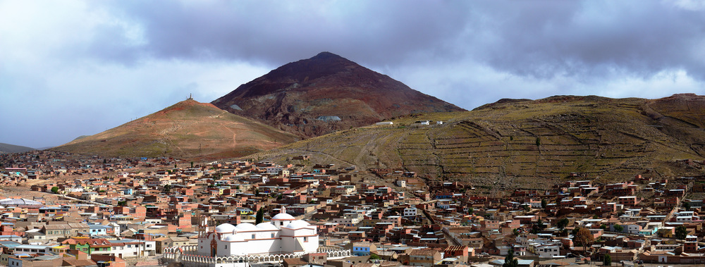 View of Cerro Rico with modern Potosí in the foreground. The mountain was thought to be made of solid silver. (Source marked for reuse)