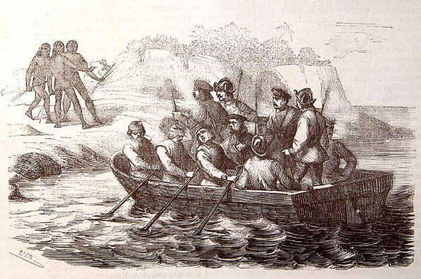 Columbus sends a boat to the south of Hispaniola, 1494 (Colón envía bote al sur de Española). (Source marked for reuse.)