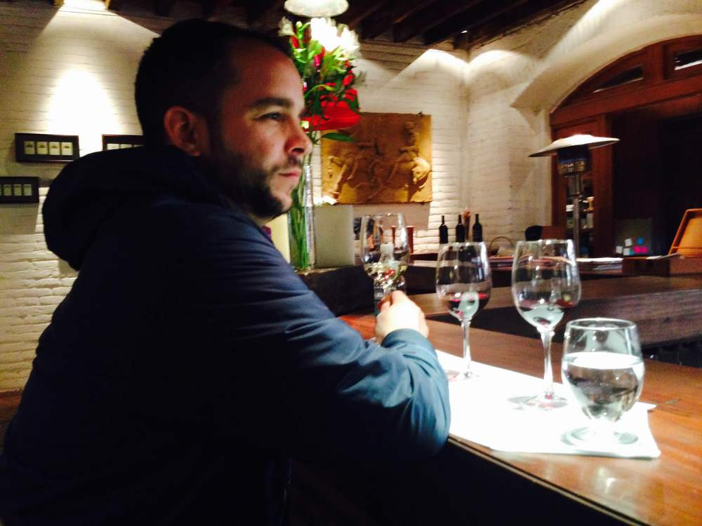 Pedro tasting wine at Errázuriz Vineyards in Aconcagua Valley, Chile during the summer of 2015.