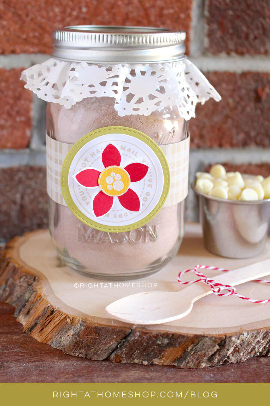 DIY Hot Cocoa Mason Jar Gift Idea // Right at Home for the Hollydays - Day #2
