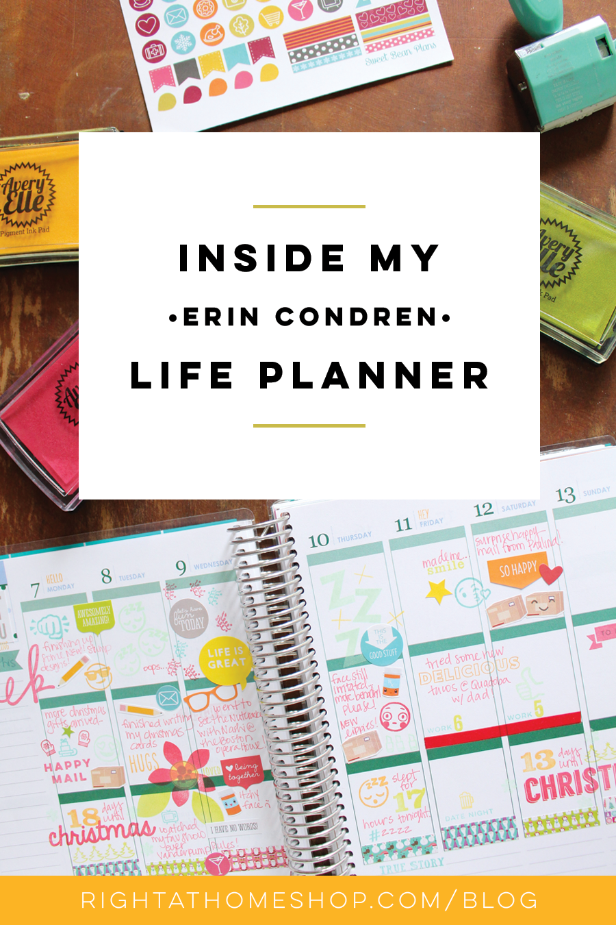 Inside My Erin Condren Life Planner // How I Use It - Right at Home Shop