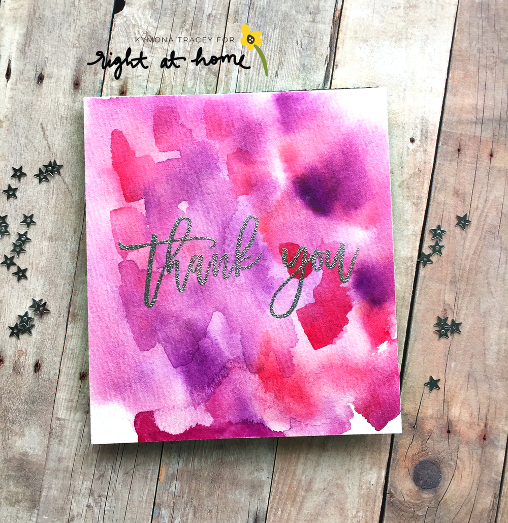 Watercolored Thank You Card by Kymona // Right at Home March Release - rightathomeshop.com/blog
