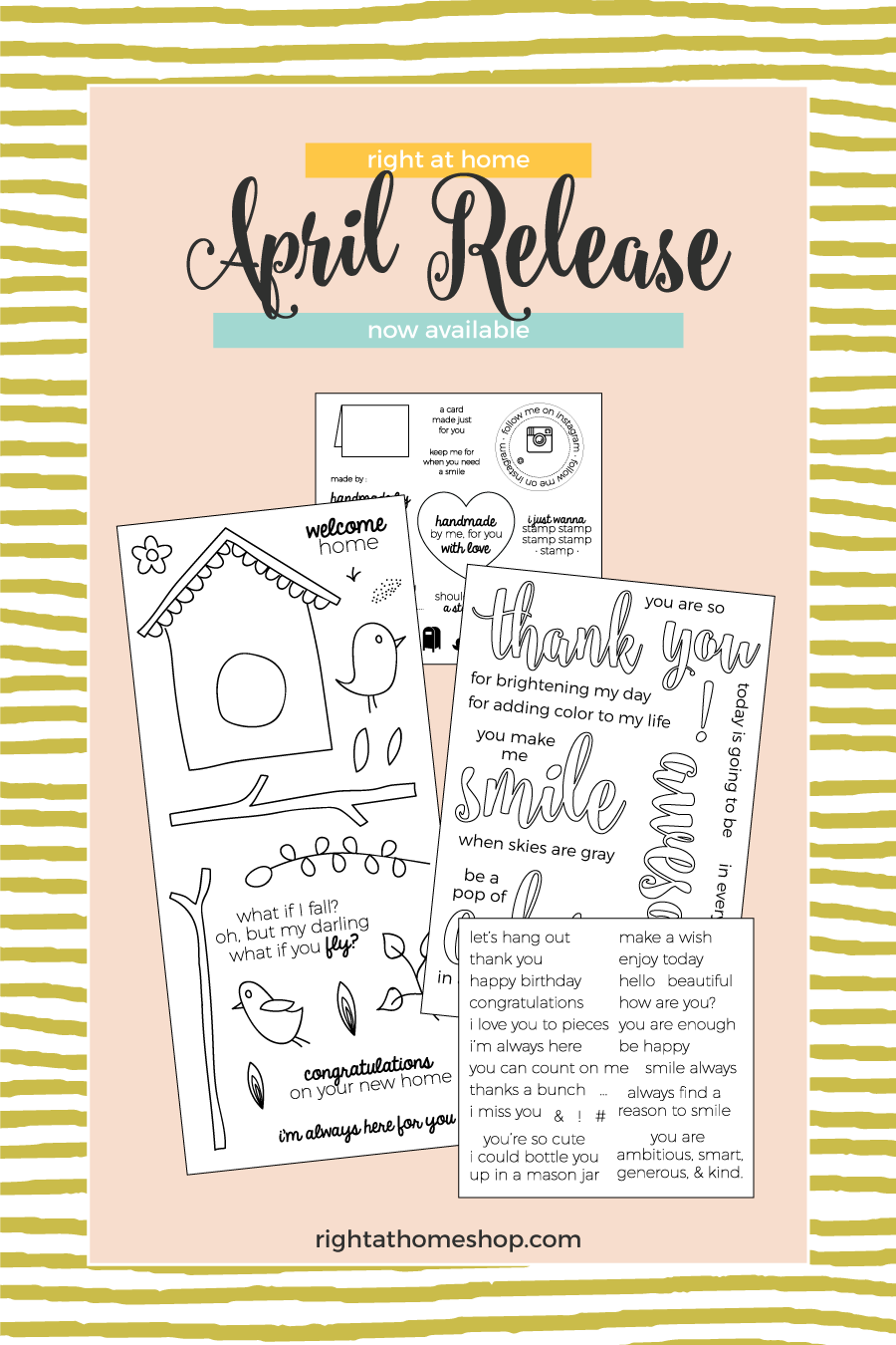 Right at Home Stamps April Release Now Available - rightathomeshop.com/blog