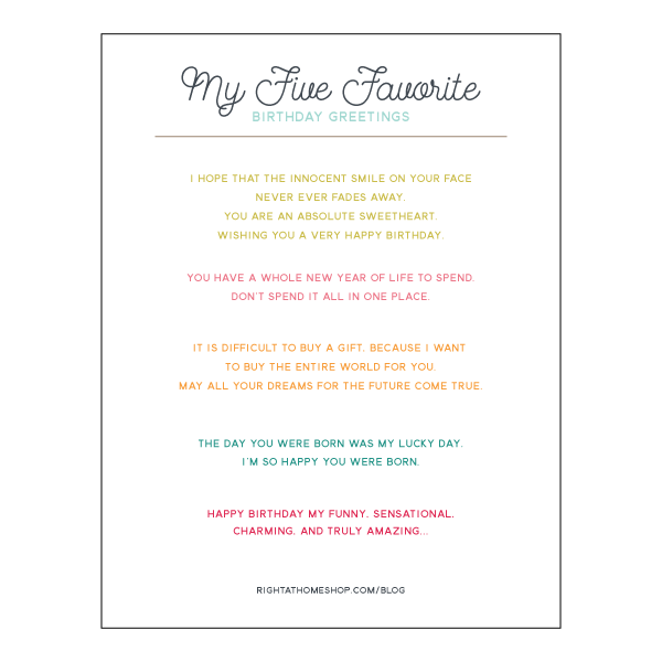 My 5 Favorite Greetings for Inside a Birthday Card Printable // rightathomeshop.com/blog