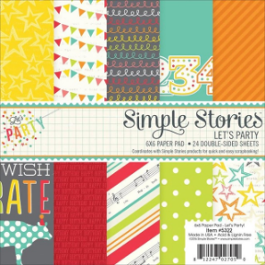 "May Stamped & Sealed Craft Box Now Available // Let's Party - Simple Stories ""Let's Party"" 6x6 Paper Pad - rightathomeshop.com"