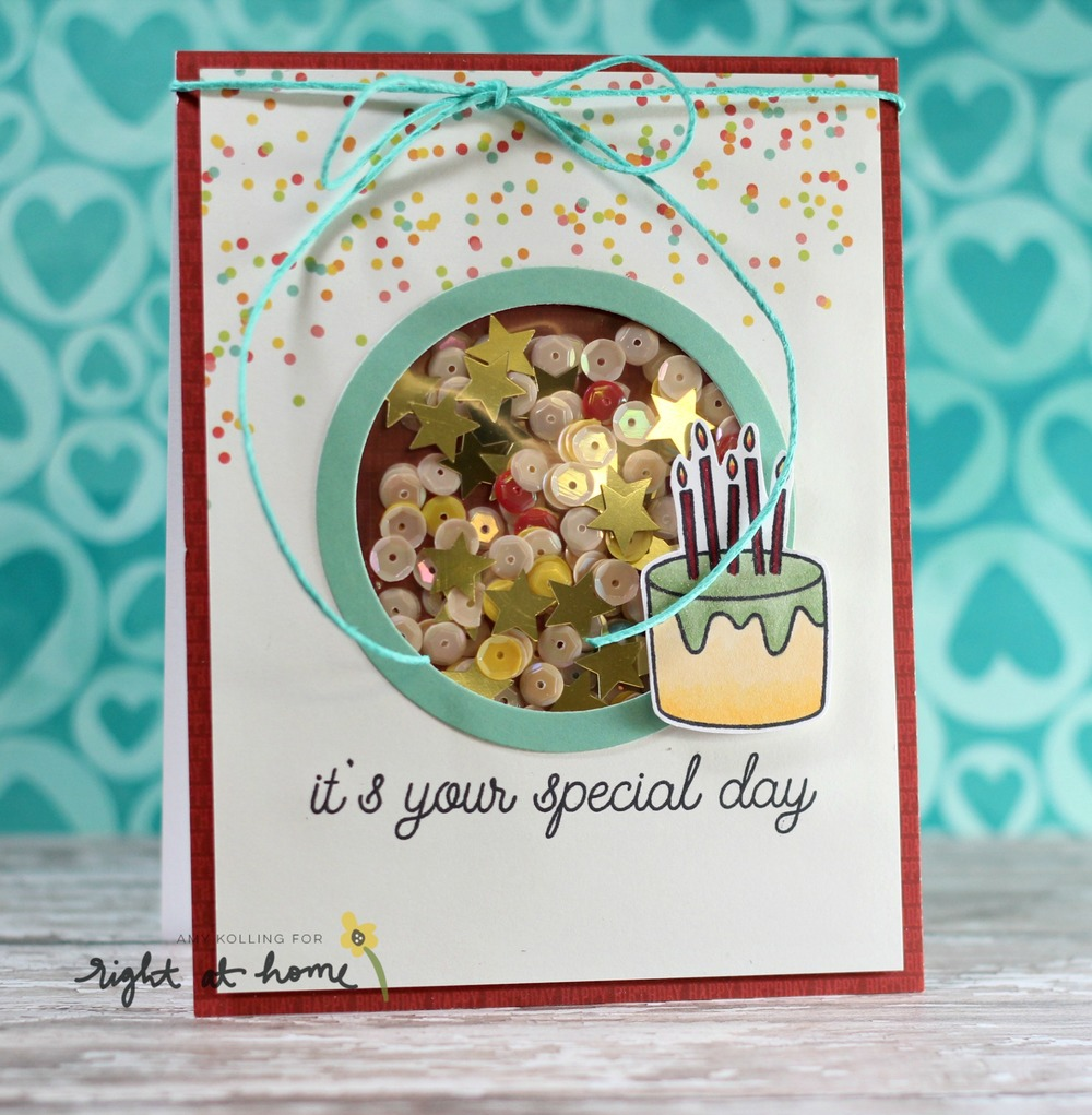 It's Your Special Day Shaker Card by Amy K. // May Stamped & Sealed Craft Box - rightathomeshop.com/blog