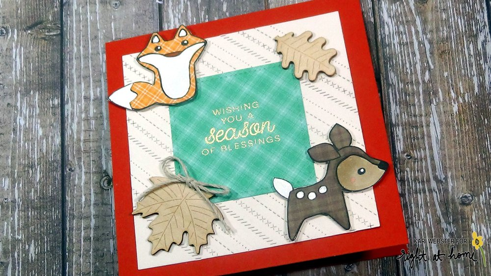 Season of Blessings Card by Kari // Paper-Piecing Cute Critters - rightathomeshop.com/blog