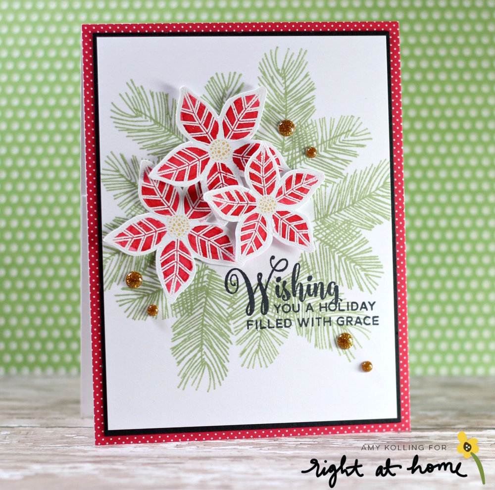 Three Poinsettia Cards by Amy K // RAH Stamps Christmas Foliage Feature Week - rightathomeshop.com/blog