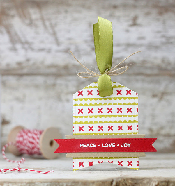 Peace • Love • Joy Tag by Laurie W. // RAH Stamps Holiday Ribbons Feature Week - rightathomeshop.com/blog