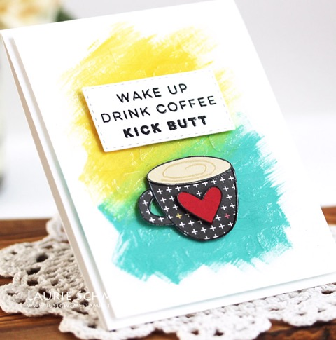 Wake Up Drink Coffee Kick Butt Card by Laurie S. // RAH Stamps Cup of Joy Release - rightathomeshop.com/blog