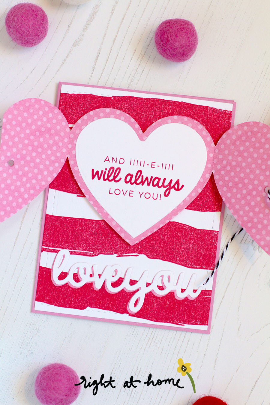 Folded Sweetheart Die Set Love You Card by Nicole // RAH Stamps Be Mine Release - rightathomeshop.com/blog