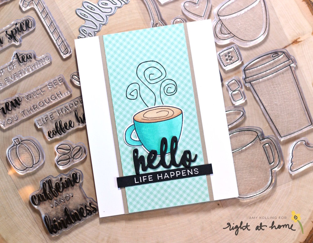Life Happens Coffee Helps Card by Amy K. // rightathomeshop.com/blog