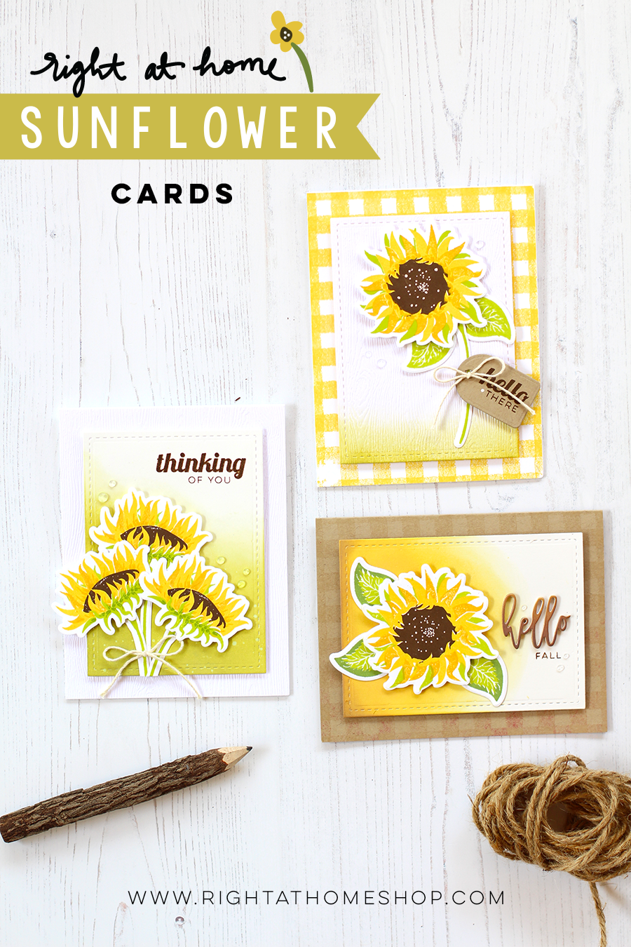 3 Sunflower Cards by Nicole // rightathomeshop.com/blog