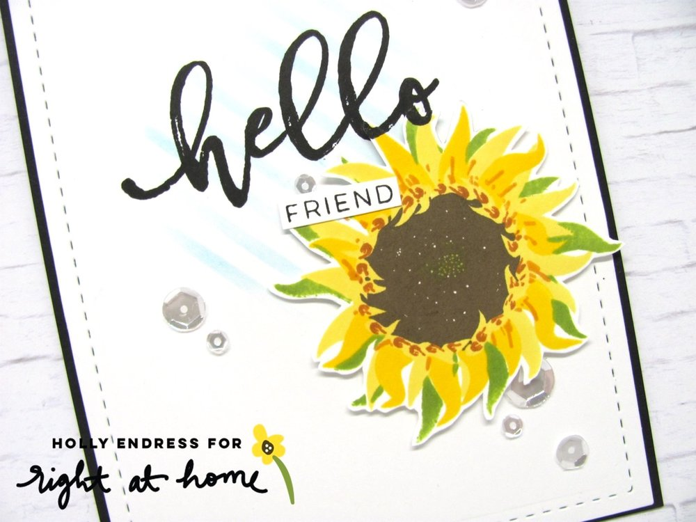 Hello Friend Sunflower Card by Holly // rightathomeshop.com/blog