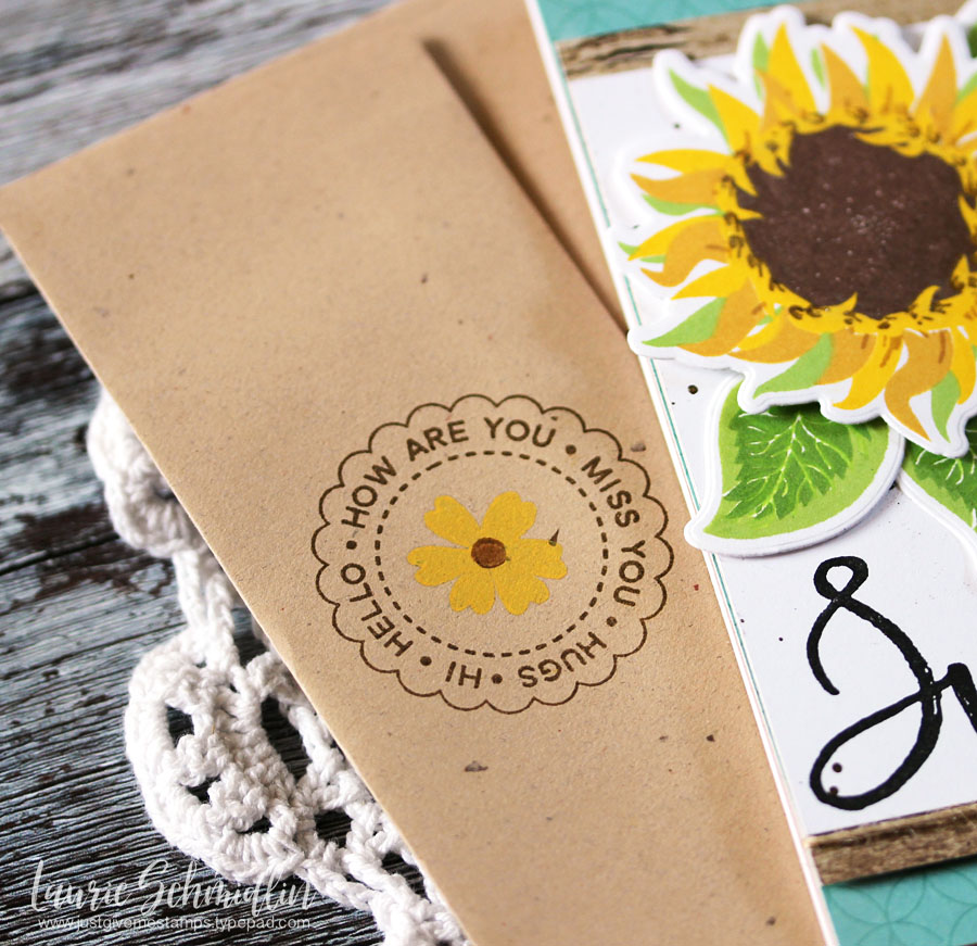 Sunflower Brushstroke Alphabet Card + Matching Envelope by Laurie S. // rightathomeshop.com/blog