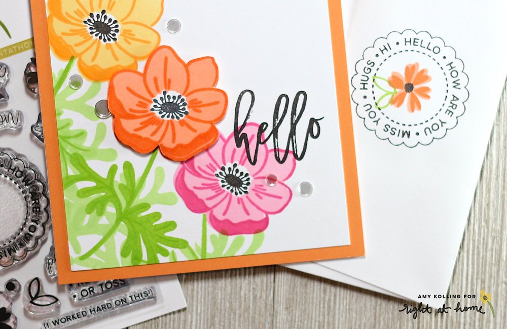 Colorful Masked Anemones Hello Card by Amy K. // rightathomeshop.com/blog
