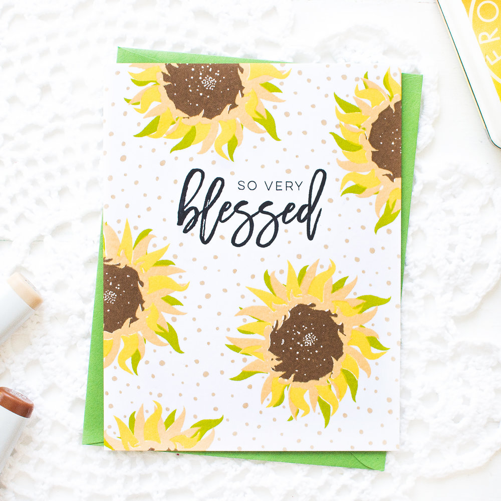 Sunflower So Very Blessed Card + Matching Envelope by May Park // rightathomeshop.com/blog