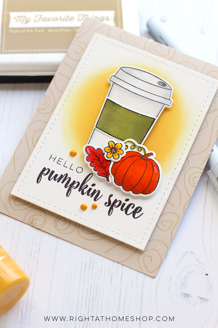 Hello Pumpkin Spice Card // Fall Coffee Lovers Blog Hop Fall 2017 - rightathomeshop.com/blog